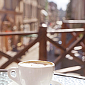 Cup Of Cappuccino In Outside Cafe by Mitshu