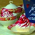 Cupcakes And Tea Je Suis Au Jardin Coffee Shop City Scene Cafe Montreal Food  Art Carole Spandau by Carole Spandau