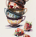 Cups And Strawberries by Kovacs Anna Brigitta
