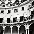 Curved Seville Spain Courtyard by Angela Bonilla