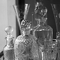 Cut Glass Crystal Decanters In Black And White 2 by Suzanne Powers