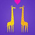Cute Cartoon Giraffe Couple In Love Purple Edition by Philipp Rietz