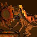Cute Orange Cat And Sunflower by Judi Suni Hall