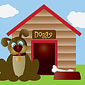 Cute Puppy Dog With Dog House Illustration by Jit Lim