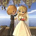 Cute Toon Wedding Couple On A Seaside Balcony by Fairy Fantasies