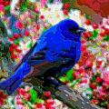 Cutout Layer Art Animal Portrait Bird Blue by Mary Clanahan