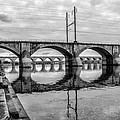 Cv - Susquehanna River Bridge Harrisburg  Pennsylvania In Black  by Bill Cannon