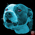 Cyan Pitbull Dog 7769 - Bb - Fractal Dog Art by James Ahn