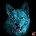 Cyan Shiba Inu Dog Art - 8555 - Bb by James Ahn