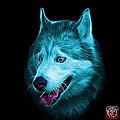 Cyan Siberian Husky Dog Art - 6062 - Bb by James Ahn