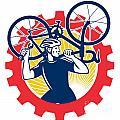 Cyclist Bicycle Mechanic Carrying Bike Sprocket Retro by Aloysius Patrimonio