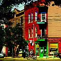 Cyclists Crossing Rue Clark Corner Wilensky Spring Street Scene Montreal Art Carole Spandau by Carole Spandau