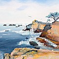 Cypress And Seagulls by Asha Carolyn Young