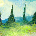 Cypress Trees On A Hill Side by George Sneyd
