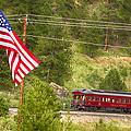 Cyrus K. Holliday Rail Car And Usa Flag by James BO  Insogna