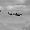 D-day Skytrain Trio Black And White Version by Gary Eason