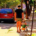 Daddy's Little Buddy Perfect Day Wagon Ride Montreal Neighborhood City Scene Art Carole Spandau by Carole Spandau