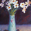 Daffodils And Cherries by Carolyn Jarvis