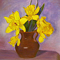 Yellow Daffodils On Purple by Robie Benve