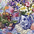 Daffodils Tulips And Iris In A Jacobean Blue And White Jug With Sanderson Fabric And Primroses by Joan Thewsey