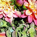 Dahlias And Hydrangeas Bouquet by Carol Groenen