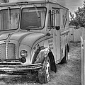 Dairy Truck - Old Rosenbergers Dairies - Black And White by Liane Wright