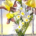 Daisies With Yellow Irises by Kip DeVore