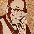 Dalai Lama Original Coffee Painting by Georgeta Blanaru