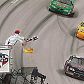 Dale Earnhardt Wins Daytona 500-checkered Flag by Paul Kuras