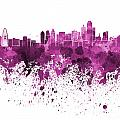 Dallas Skyline In Pink Watercolor On White Background by Pablo Romero