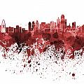 Dallas Skyline In Red Watercolor On White Background by Pablo Romero