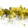 Dallas Skyline In Yellow Watercolor On White Background by Pablo Romero