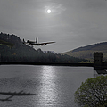 Dambusters Lancaster At The Derwent Dam At Night by Gary Eason