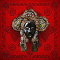 Dan Dean-gle Mask Of The Ivory Coast And Liberia On Red Leather by Serge Averbukh