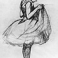 Dancer Adjusting Her Costume And Hitching Up Her Skirt by Henri de Toulouse-Lautrec