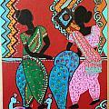 Dancing Girls - Folk Art  by Madhuri Krishna