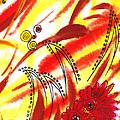 Dancing Lines And Flowers Abstract by Irina Sztukowski