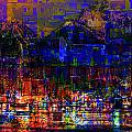 Dark City Lights Cityscape by Mary Clanahan