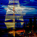 Dark Moonlight With Sails And Seagull by Algirdas Lukas