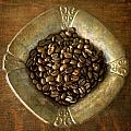 Dark Roast Coffee Beans And Antique Silver by Renee Hong