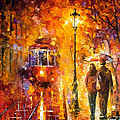 Date By The Trolley - Palette Knife Oil Painting On Canvas By Leonid Afremov by Leonid Afremov