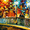 Date On The Bridge - Palette Knife Oil Painting On Canvas By Leonid Afremov by Leonid Afremov