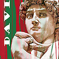 David - Michelangelo - Stylised Modern Drawing Art Sketch  by Kim Wang