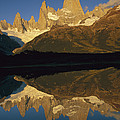Dawn Fitzroy Massif Reflection Patagonia by Colin Monteath