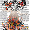 Day Of The Dead Gaia In Flames With Text Illustration Print by Sassan Filsoof