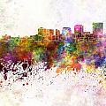 Dayton Skyline In Watercolor Background by Pablo Romero