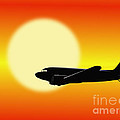 Dc-3 Passing Sun by Jan Brons