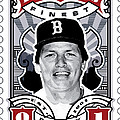 Dcla Carlton Fisk Fenway's Finest Stamp Art by David Cook Los Angeles