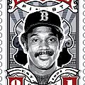 Dcla Jim Rice Fenway's Finest Stamp Art by David Cook Los Angeles