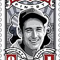 Dcla Ted Williams Fenway's Finest Stamp Art by David Cook Los Angeles